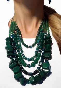 LOVE this! Stunning statement necklace handmade with genuine Jade gemstones. Ah-MAZ-ing     https://www.etsy.com/listing/104371464/gemstone-jade-statement-necklace-jade