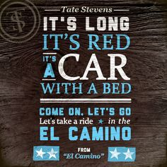 """Track Seven off Tate's debut is """"El Camino""""."""