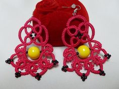 Center  tatting  earrings by JoannaArt77 on Etsy, $15.00