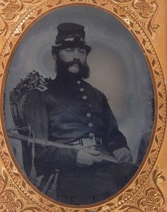 Civil War Ambrotype Photo Officer; he appears to be a cavalryman as noted by his…