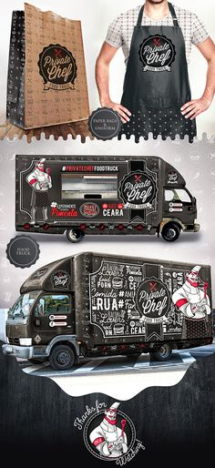 Owned by the same developers of the Crazy Peppers pepper sauce line, Private Chef Food Truck aims to Food Trucks, Food Gifts For Men, Diy Food Gifts, Food Truck Business, Restaurant Branding, Restaurant Design, Chalkboard Restaurant, Truck Restaurant, Pizza Branding