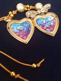 Vintage Love Bird Locket Handpainted / Broche by greeneyesgeisha