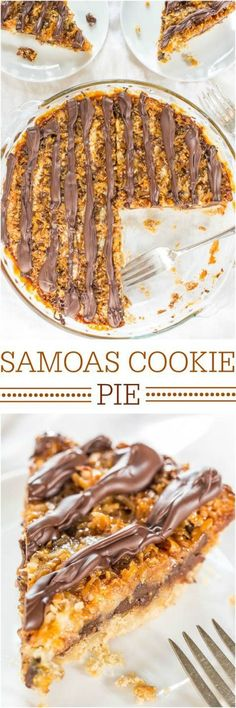 Samoas Cookie Pie Dessert Recipe via Averie Cooks - Move over Girl Scout Cookies! The flavor in this easy, giant cookie is 100% spot-on!! Hello year-round cookie season!! Favorite EASY Pies Recipes - Brunch Dessert No-Bake + Bake Musts