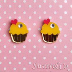 Sweet Mini Cupcake Stud Earrings Gold - One Size Yellow Cupcakes, Mini Cupcakes, Best Jewelry Stores, Gold Earrings, Diamond Jewelry, Crystals, Sweet, Accessories, Gold Stud Earrings