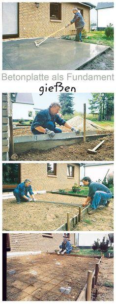 Kleine Plattenfundamente für den Garten kann man selbst machen. Die Betonplatte kann als Fundament für das Gartenhaus oder die Terrasse genutzt werden. Wir zeigen, wie man die Bodenplatte selbst baut.