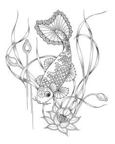 Coloring Pages for adults. Digital download of a Koi fish for colouring in.