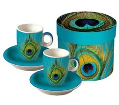 These are beautiful peacock coffee cups that will fit into any collection