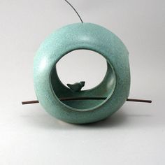 Green Ceramic Round Orb Bird Feeder