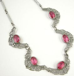 Art Deco pink glass necklace.