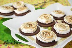 Galletas de chocolate y merengue rellenas de Nutella