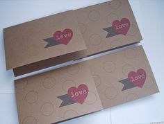 Love Note Cards  Red Hearts Grey Pennant Flags Kraft by twin2kim, $6.25