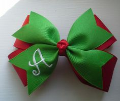 Hey, I found this really awesome Etsy listing at https://www.etsy.com/listing/201026648/4-inch-christmas-hair-bow-monogrammed