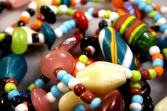 VINTAGE MIXED MULTI COLOR ITALIAN MURANO CZECH  GLASS BEAD NECKLACE 54''