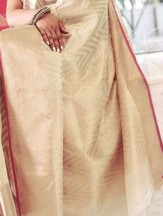 Cream Handwoven Kota Tissue Saree with Real Zari by Vidhi Singhania Cotton Saree, Sarees, Hand Weaving, Yard, Cream, Classic, Pink, Stuff To Buy, Fashion