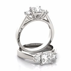 A 14 karat white gold cathedral engagement ring for a princess diamond with carat round side diamonds. Available in other size and metal variations. Trilogy Engagement Ring, Floral Engagement Ring, Princess Cut Engagement Rings, Vintage Engagement Rings, Diamond Cluster Ring, Jewelry Rings, White Gold, Wedding Rings, Solitaire Ring