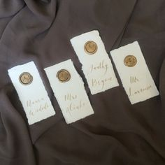Place Cards | Escort Cards | Handmade Paper | Seal Wax | Agate Slices | Natural Stone | Champagne Ink | Wedding Card