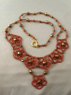 """Easy Netted Necklace for Fall - Netted Motifs. (Click """"Next"""" beside photos for instructions)"""