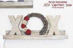 Pottery Barn Knock Off Valentine's Day XOXO Wreath