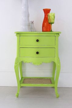 Lime French Bedside Table