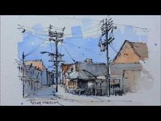 Pen and Wash Watercolor demonstration. Street Sketch of Kensington Market. Just 2 colors - YouTube