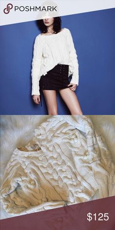 for love & lemons   cropped knit with poms ꊛ for love & lemons ꊛ xs ꊛ new without tag  ☾chunky knit cropped sweater with pom details.   ꊛ × no paypal × no trades × be kind, have fun & stay lovely ო  メℴ メℴ For Love And Lemons Sweaters