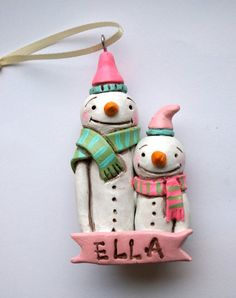 Personalized Big Brother Big Sister Snowman by indigotwinholiday, $24.00