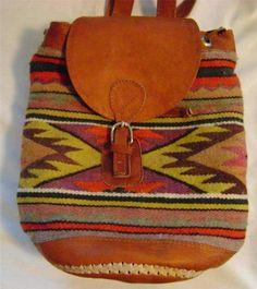 Vintage Southwestern Indian Blanket Leather Backpack Purse Navajo Boho Bag