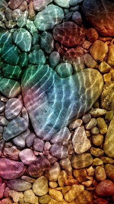 ♥ Under Water Rippled Rock Heart ♥