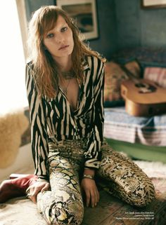 Marique Schimmel by Nick Dorey for Russh #43. Styling by Gillian Wilkins. Mixed prints for a rock vibe. Definitely a look I could get behind.