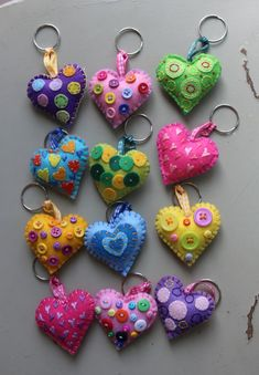 Heart Keychain - keyring - handmade - gift idea - felt - party favors - Valentine's - love - sweet 16 - party - Patchyz by Kathleen Flask - Keychain – key ring – heart – gift idea- felt keychain – party favors – Valentine's – - Valentine Day Love, Valentine Crafts, Valentines, Party Gift Bags, Party Favors, Party Games, Shower Favors, Shower Invitations, Wedding Favors