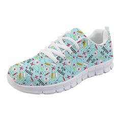 Nurse Pattern Pink Sneakers for Women Red Flats, Lace Up Flats, Flat Shoes, Comfortable Sneakers, Comfy Shoes, Pink Sneakers, Casual Sneakers, Nursing Shoes, Womens Flats