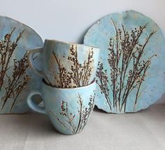 bleu pâle ⊰ tea pair motley grass ceramics pottery clay