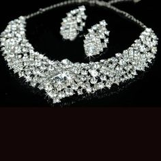 Sparkling Alloy With Rhinestone Wedding Bridal Jewelry Set - (Including Necklace, Earrings) - $51.99 - Trendget.com
