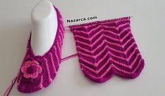 Women's booties model making / two . Crochet Boot Socks, Crochet Slippers, Knit Crochet, Loom Knitting, Knitting Socks, Lots Of Socks, Knitting Patterns, Crochet Patterns, Wool Art