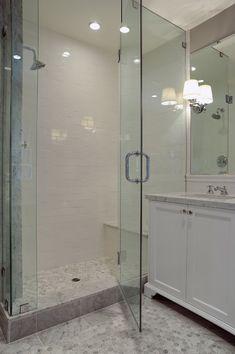 Kelly Baron - bathrooms - walk-in shower, glass shower door, glass shower front, frameless glass shower door, white subway tile, white subwa...