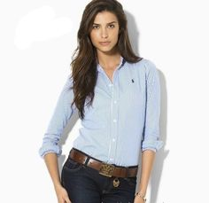 Ralph Lauren Womens Shirt Vertical Stripes Light Blue White Long Sleeve  Shirts, Long Sleeve f6a000c84662