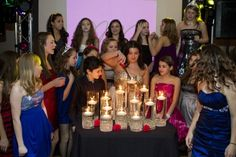Bat mitzvah candle lighting display party perfect boca raton fl candle lighting with floating candles in tall glass vases and glass beads an elegant alternative aloadofball Choice Image