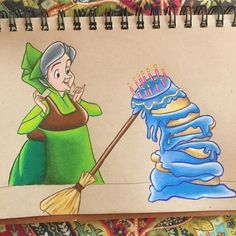 """535 Likes, 34 Comments - Disney Chalk Art & Drawings ✏️ (@megansartwork) on Instagram: """"Happy birthday to me!!!! (My birthday was actually yesterday but I just finished the drawing today)…"""" sleeping beauty"""