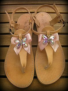 Leather sandals with pink ribbon and crystal butterfly