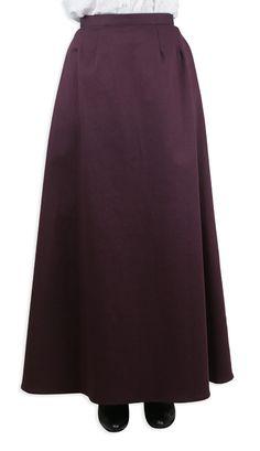 Cotton Twill Walking Skirt - Burgundy (Special Order +1 week) [004202]  ($65)