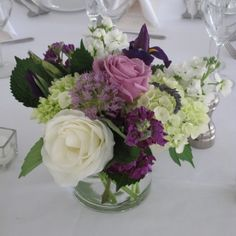 Purple and white centerpiece at Topnotch Resort, Stowe, VT