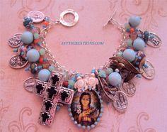 Catholic St. Kateri Tekakwitha, Saints Religious Medals Charm Bracelet #Handmade #HolyMedalCharmPendant www.letyscreations.com