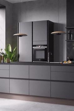 Modern Grey Kitchen, Grey Kitchen Designs, Modern Kitchen Interiors, Industrial Kitchen Design, Luxury Kitchen Design, Interior Design Kitchen, Kitchen Cabinets Design Layout, Kitchen Room Design, Modern Kitchen Cabinets