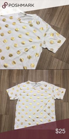 Gold Foil Polka Dot Tee White Short Sleeve tee with gold foil polka dots. So cute to wear dressed up or down! **cover image not actual item, shown for styling! Tops Tees - Short Sleeve