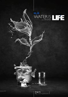 Water is Life Design Poster, Graphic Design, Poster Designs, Water Poster, Water Logo, Photoshop, Shops, Water Art, Creative Advertising