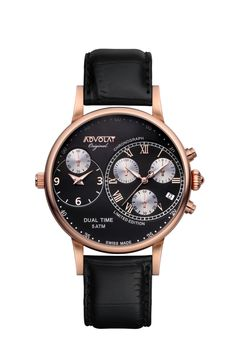 ADVOLAT CAPITAINE Dual Time, Stainless Steel Casing IP rose gold, Face black/rose, Leather Bracelet black, Ref. 88001/2RG-L2 Stainless Steel Bracelet, Stainless Steel Case, Limited Edition Watches, Time Zones, Italian Leather, Chronograph, Black Leather, Rose Gold, Stuff To Buy