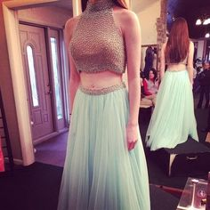 A-line Light Blue Tulle Beaded Two Piece Prom Dress