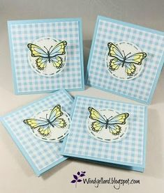 Windy's Wonderful Creations: Balmy Blue Butterflies & Happy Christmas Eve!, Stampin' Up!, Butterfly Gala, Butterfly Duet punch, Gingham Gala DSP