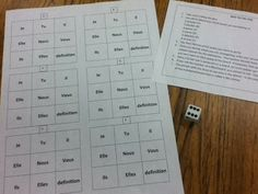 Je m'appelle Madame: Dice Tic-Tac-Toe Game for students to practice verb conjugations. High School French, Middle School Spanish, French Verbs, French Grammar, French Classroom, Spanish Classroom, Classroom Games, Classroom Language, French Lessons
