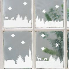 Christmas Village Scene Vinyl Stickers : MAKE THESE OUT OF PAPER OR FELT AT HOME, INSTEAD, FOR A FUN/ECO-FRIENDLY PROJECT